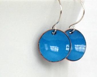 Bright Blue Enamel Earrings