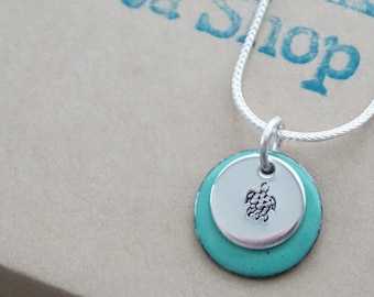 Hand Stamped Sterling Silver Turtle on Enamel Pendant - Choose Your Color