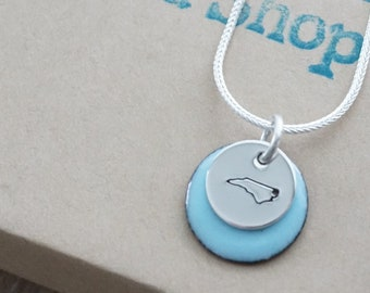 Hand Stamped Sterling Silver North Carolina on Enamel Pendant - Choose Your Color