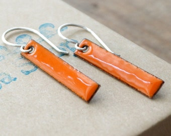 Tangerine Orange Enamel Bar Earrings