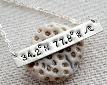 Sterling Silver Hand Stamped Coordinates Necklace