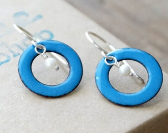 CLEARANCE - Bright Blue Enamel Circle and Pearl Earrings