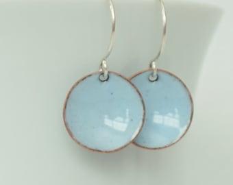 Pale Blue Enamel Earrings