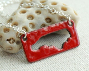 CLEARANCE - Red North Carolina Enamel Cutout Bar Necklace