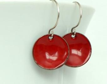 Red Enamel Disc Earrings