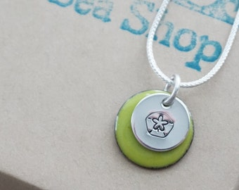 Hand Stamped Sterling Silver Sand Dollar on Enamel Pendant - Choose Your Color