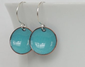 Light Teal Enamel Earrings