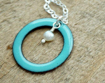 CLEARANCE - Light Teal Enamel Circle with Pearl Necklace