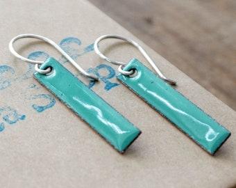 Mint Green Enamel Bar Earrings