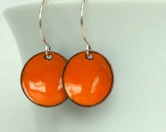 Tangerine Orange Enamel Earrings