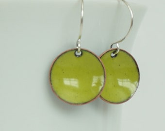 Lime Green Enamel Earrings
