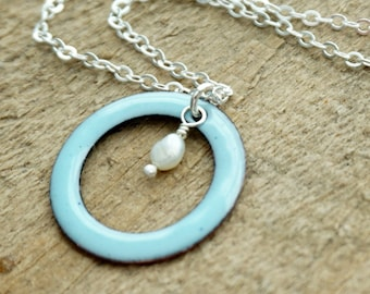 CLEARANCE - Light Blue Enamel Circle with Pearl Necklace