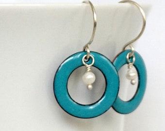 Teal Blue Green Enamel Circle and Pearl Earrings
