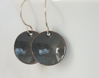 Dark Grey Enamel Earrings