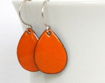 Tangerine Orange Enamel Teardrop Earrings