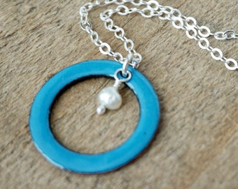 CLEARANCE - Bright Blue Enamel Circle with Pearl Necklace