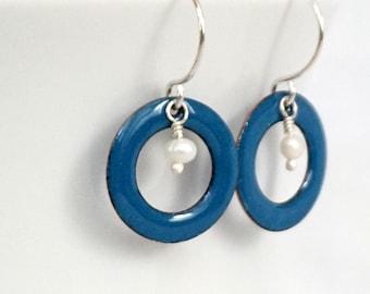 Peacock Teal Blue Enamel Circle and Pearl Earrings