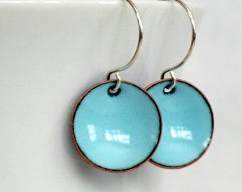 Robin's Egg Blue Enamel Earrings