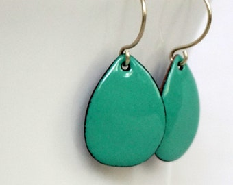 Mint Green Enamel Teardrop Earrings