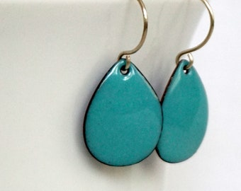 Light Teal Enamel Teardrop Earrings