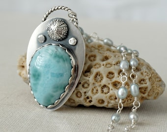 Larimar and Sea Urchin with Rosary Pearl Chain Pendant