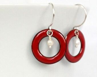 Red Enamel Circle and Pearl Earrings