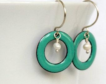 Mint Green Enamel Circle and Pearl Earrings