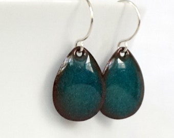 Metallic Teal Green Enamel Teardrop Earrings