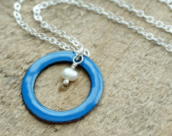 Royal Blue Enamel Circle with Pearl Necklace