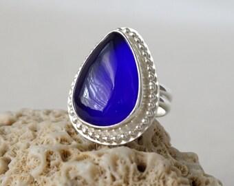 Cobalt Blue Antique Insulator/Railroad Glass Ring, Size 7 1/2