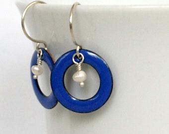 Cobalt Blue Enamel Circle and Pearl Earrings