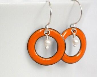 Tangerine Orange Enamel Circle and Pearl Earrings