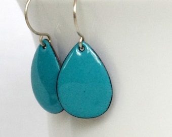 Teal Blue Green Enamel Teardrop Earrings