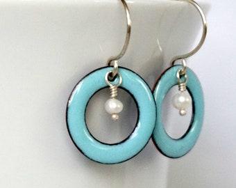 Robin's Egg Blue Enamel Circle and Pearl Earrings