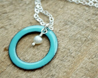 Light Teal Enamel Circle with Pearl Necklace