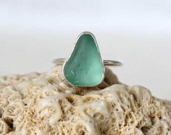 Dark Seafoam Green Sea Glass Stacking Ring, Size 7