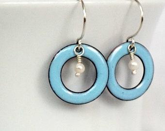 Light Blue Enamel Circle and Pearl Earrings