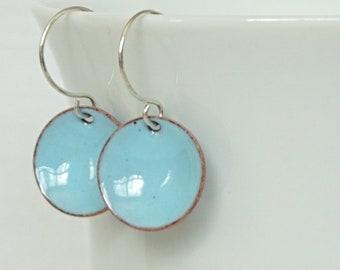 Light Blue Enamel Earrings
