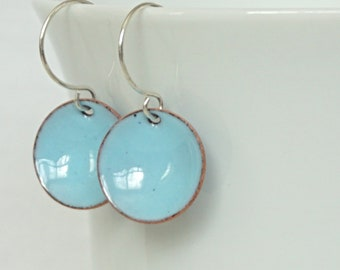 Light Blue Enamel Earrings