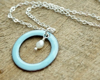 Light Blue Enamel Circle with Pearl Necklace