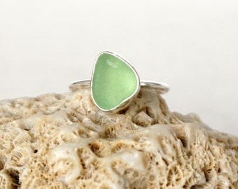 Mint Seafoam Green Sea Glass Stacking Ring, Size 8