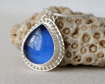 Cornflower Blue Antique Insulator/Railroad Glass Pendant