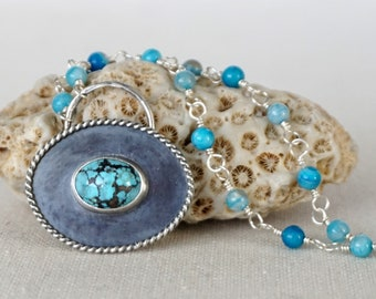 CLEARANCE Shadowbox Turquoise Pendant with Rosary Style Agate Chain