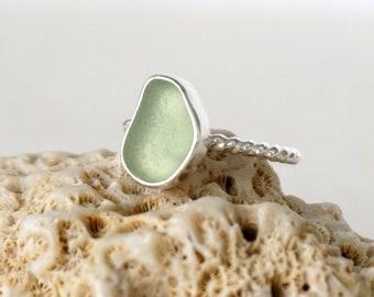 Seafoam Green Sea Glass Stacking Ring, Size 7 1/2
