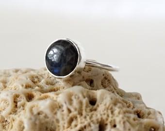 Blue Flash Labradorite Stacking Ring, Size 6 3/4
