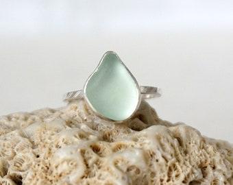 Soft Aqua Blue Sea Glass Stacking Ring, Size 8
