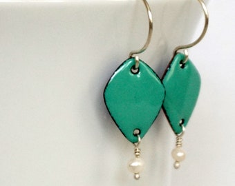Mint Green Enamel Diamond and Pearl Earrings