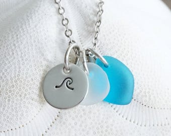 Sterling Silver Wave with Aqua and Clear Sea Glass Pendant