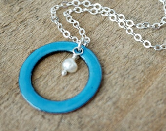 Bright Blue Enamel Circle with Pearl Necklace