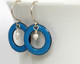 Bright Blue Enamel Circle and Pearl Earrings
